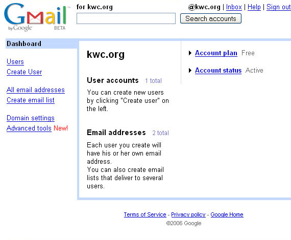 More hosted Gmail screenshots (manage domain) (kwc blog)